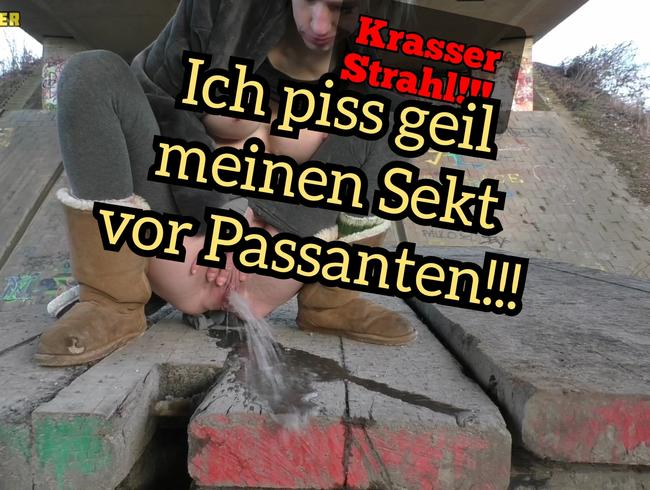Video Thumbnail Krasser Strahl! Ich pisse geil öffentlich mit Spermagesicht!