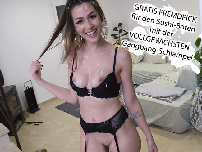 Video Thumbnail GRATIS FREMDFICK für den Sushi-Boten mit VOLLGEWICHSTER Gangbang-Schlampe!