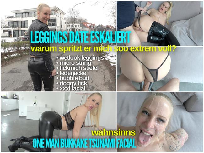 Video Thumbnail Leggings FICKDATE eskaliert | wahnsinns ONE MAN BUKKAKE TSUNAMI FACIAL