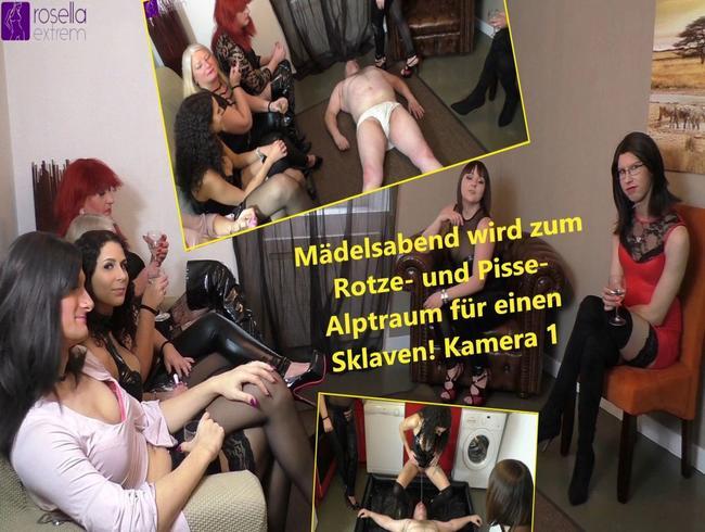 Video Thumbnail Mädelsabend wird zum Rotze- und Pisse- Alptraum für einen Sklaven! Kamera 1