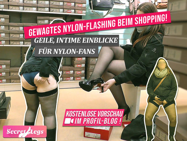 Video Thumbnail Gewagtes NYLON-FLASHING beim Shopping! Geile, intime Einblicke für Nylon-Fans