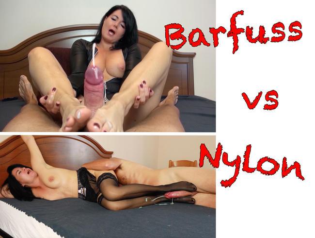 Video Thumbnail 23cm RIESENSCHWANZ ENTSAFTUNG! BARFUß vs. NYLON!