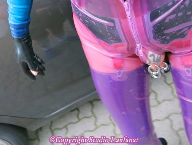 Video Thumbnail Originalton! Latex-Piercing-Puppe in transparenter Jeans lila Strumpf Fick riesigen Dildo gefingert blo