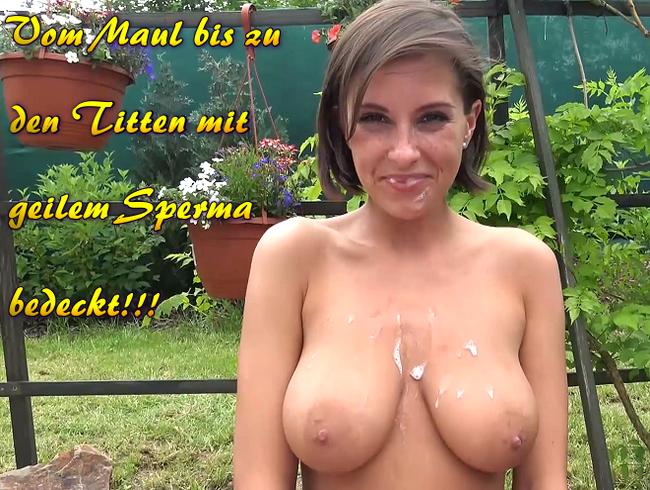 Video Thumbnail Vom Maul bis zu den Titten mit geilem Sperma bedeckt!!!