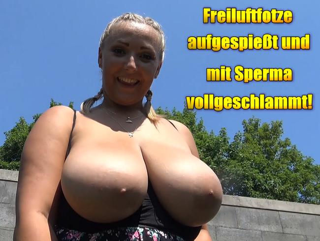 Video Thumbnail Freiluftfotze aufgespießt und mit Sperma vollgeschlammt!