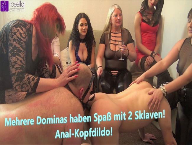 Video Thumbnail Mehrere Dominas haben Spaß mit 2 Sklaven! Anal-Kopfdildo!