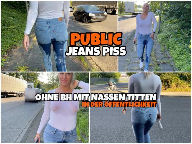 Lara-CumKitten - PUBLIC Jeans Piss | Ohne BH mit nassen Titten in der Öffentlichkeit