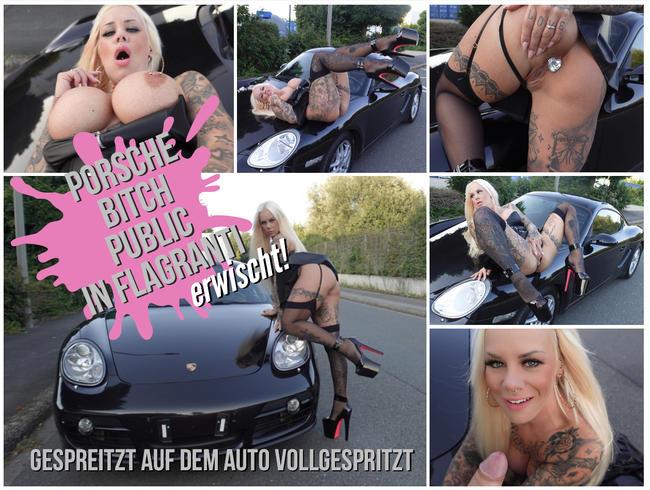 SteffiBlond - PORSCHE BITCH PUBLIC IN FLAGRANTI ERWISCHT | Gespreizt auf dem Auto vollgespritzt